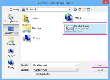 Chọn tệp vCard mà bạn muốn nhập vào .csv.