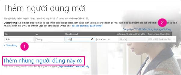 Thêm người dùng vào bên thuê Office 365 của bạn