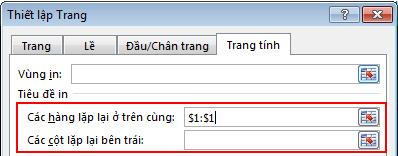 Các tùy chọn in tiêu đề được tô sáng trong hộp thoại Thiết lập Trang