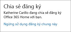 """Ảnh chụp của phần """"Chia sẻ thuê bao"""" của trang tài khoản của tôi hiển thị nối kết """"Ngừng sử dụng chia sẻ thuê bao"""" màn hình."""