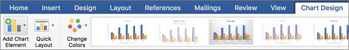 Bấm vào tab Thiết kế biểu đồ, rồi bấm vào Thêm thành phần biểu đồ
