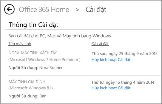 Trang Cài đặt đang hiển thị tên máy tính và tên người đã cài đặt Office.
