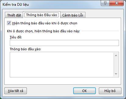 Chọn thông báo mà bạn muốn mọi người nhìn thấy khi họ bắt đầu sử dụng danh sách thả xuống trong Excel