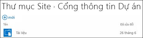 Chọn một site trong danh sách Thư mục Site trong Office 365 để xem các thư viện tài liệu trên site đó.