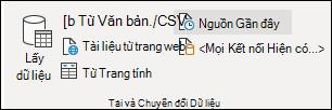 Nhóm Lấy Dữ liệu Bên ngoài trên tab Dữ liệu