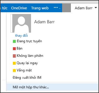 Menu Mở hộp thư khác trong Outlook Web App
