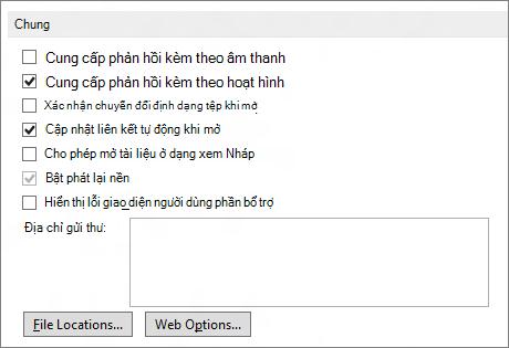 Tùy chọn Chung trong Word 2013