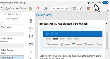 Hộp thư đến với ngăn Sắp ra mắt ở bên phải màn hình