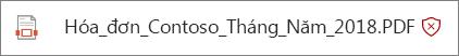 Ảnh chụp màn hình của một tệp trong OneDrive for Business phát hiện dưới dạng độc hại