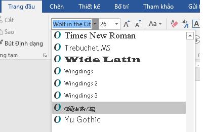 Bây giờ phông chữ mới của bạn sẽ xuất hiện trên danh sách phông trong Word.