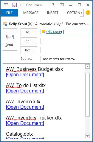 Các nối kết tài liệu trong email