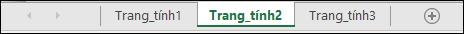 Tab trang tính ở dưới cùng của cửa sổ Excel