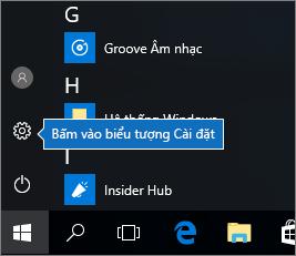 Trong menu Bắt đầu, hãy bấm vào biểu tượng Cài đặt Windows