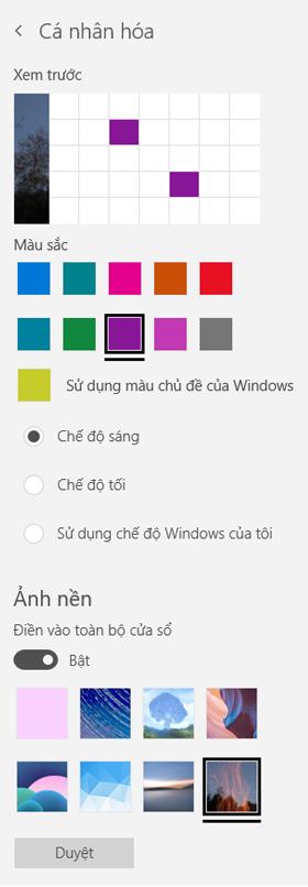 Chọn một hình nền và màu tùy chỉnh cho các ứng dụng của bạn