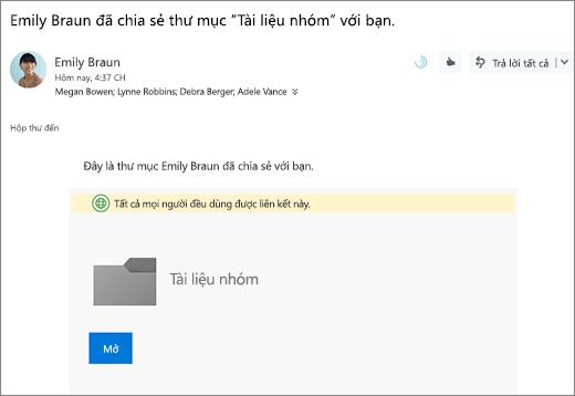 Gửi email với nối kết để chia sẻ thư mục OneDrive