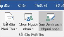Như một phần của phối thư Word, trên tab gửi thư, trong nhóm phối bắt đầu, chọn sửa danh sách người nhận.