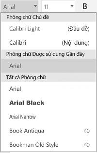 Danh sách phông chữ