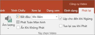 Hiện tùy chọn phát lặp đi lặp lại cho đến khi được tắt trong Công cụ Video PowerPoint