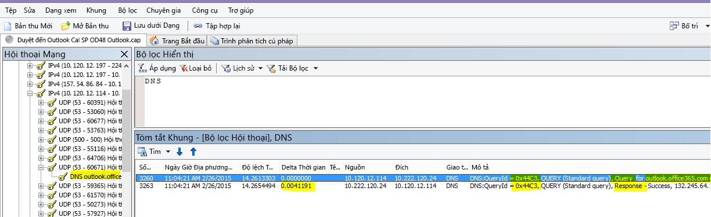Quy trình dõi vết Netmon cho lượt tải Outlook Online được lọc theo DNS và sử dụng Tìm Hội thoại rồi đến DNS để thu hẹp kết quả.