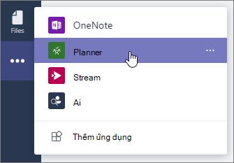 Menu ứng dụng trong nhóm, chọn ứng dụng Planner.