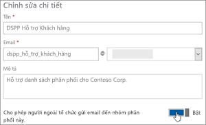 Ảnh chụp màn hình: Bật nút bật tắt để cho phép các thành viên bên ngoài để gửi đến một dl
