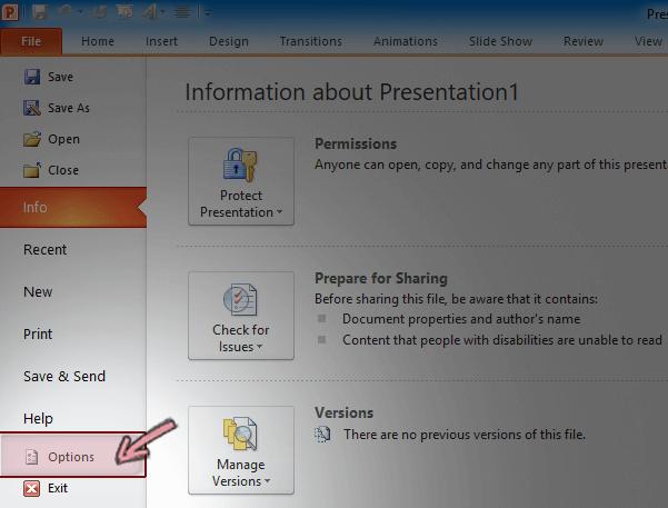 Trên tab tệp của ruy-băng trong PowerPoint 2010, hãy bấm Tùy chọn