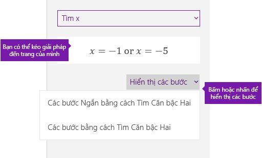 Nút Hiển thị các bước trong ngăn tác vụ toán học