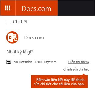 Tùy chọn Chỉnh sửa Chi tiết trong Docs.com