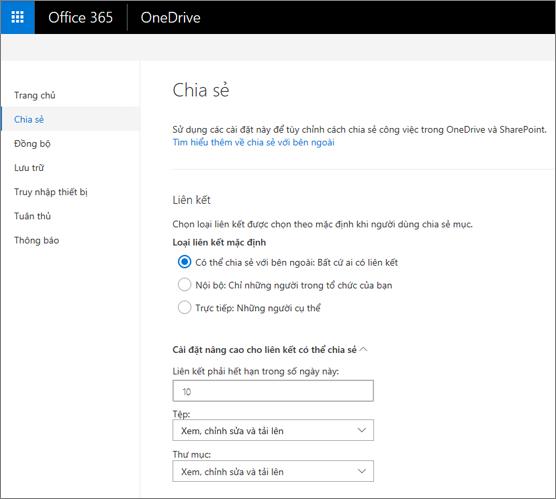 Nối kết thiết đặt trên trang chia sẻ của Trung tâm quản trị OneDrive