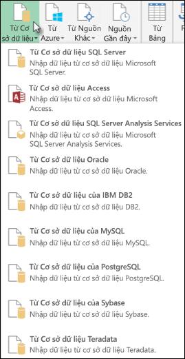 Power Query từ cơ sở dữ liệu tùy chọn