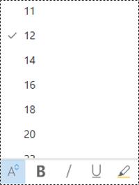Menu cỡ phông mở trong Outlook trên web.