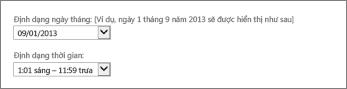 Thiết đặt định dạng ngày và thời gian trong Outlook Web App