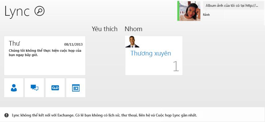 Ảnh chụp màn hình của lỗi: Lync không thể kết nối với Exchange. Bạn có thể không có được lịch sử gần nhất, thư thoại, liên hệ và các Cuộc họp Lync.