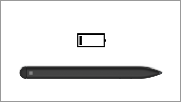 Bút mỏng trên bề mặt và biểu tượng pin