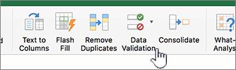 Menu dữ liệu trong thanh công cụ Excel với Xác nhận tính hợp lệ dữ liệu đã được chọn