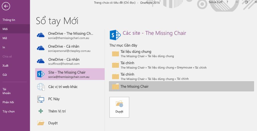 Giao diện Chọn thư mục cho sổ tay mới trong OneNote for Windows 2016