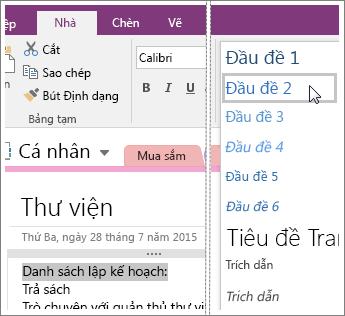 Ảnh chụp màn hình của menu thả xuống Kiểu trong OneNote 2016.