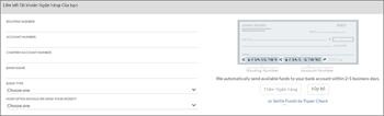 Ảnh chụp màn hình: Nối kết tài khoản ngân hàng của bạn để đặt chỗ bằng cách nhập số tên, định tuyến và tài khoản ngân hàng