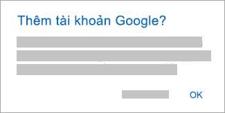 Nhấn vào OK để cấp cho Outlook quyền truy nhập vào các tài khoản của bạn.