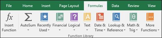 Tab công thức Excel trên Ribbon