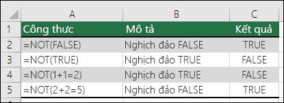 Các ví dụ về hàm NOT để đảo ngược tham đối.  VÍ DỤ: =NOT(1+1=2)