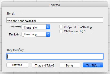 Thay thế văn bản hoặc số trong sổ làm việc hoặc trang tính bằng cách nhấn Ctrl + H