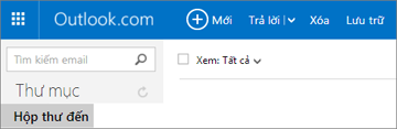 Giao diện của dải băng khi bạn có Outlook.com hoặc Hotmail.com