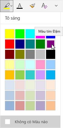 Nút tô sáng với danh sách thả xuống hiển thị màu tím đậm được chọn