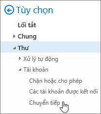 Một ảnh chụp màn hình hiển thị tùy chọn chuyển tiếp được chọn trong tùy chọn cho thư.