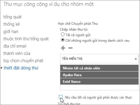 danh sách người gửi được phép tùy chỉnh cho một thư mục công cộng để giúp khắc phục lỗi DSN 5.7.135