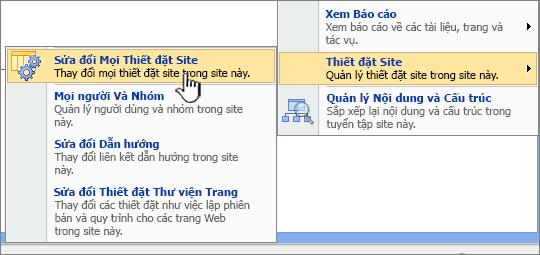 Sửa đổi tất cả tùy chọn thiết đặt trang bên dưới thiết đặt site