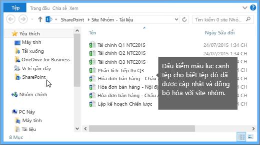 Sử dụng File Explorer để dẫn hướng đến tệp đã đồng bộ trên máy tính của bạn. Nó nằm trong thư mục SharePoint.