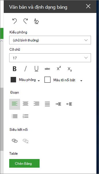 Mở trang định dạng văn bản và bảng