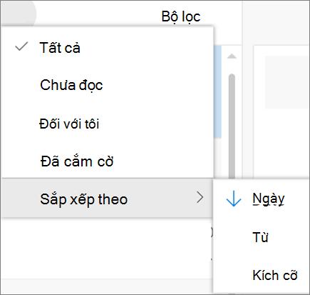 Một ảnh chụp màn hình hiển thị sắp xếp theo tùy chọn được chọn từ điều khiển bộ lọc cho thông điệp email.